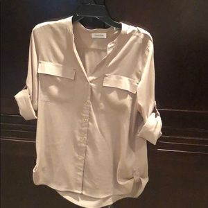 Like new Calvin Klein tan rolled sleeve blouse